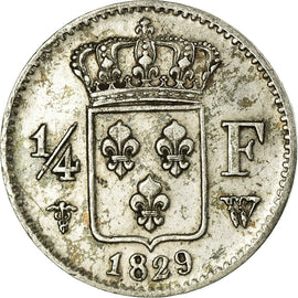 Coin, France, Charles X, 1/4 Franc, 1729, Lille, AU(55-58), Silver, KM:722.12