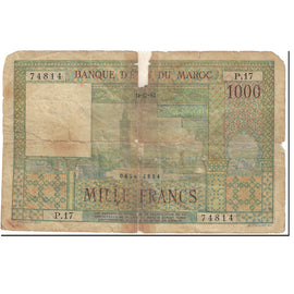 Banknote, Morocco, 1000 Francs, 1952, 1952-12-10, KM:47, AG(1-3)