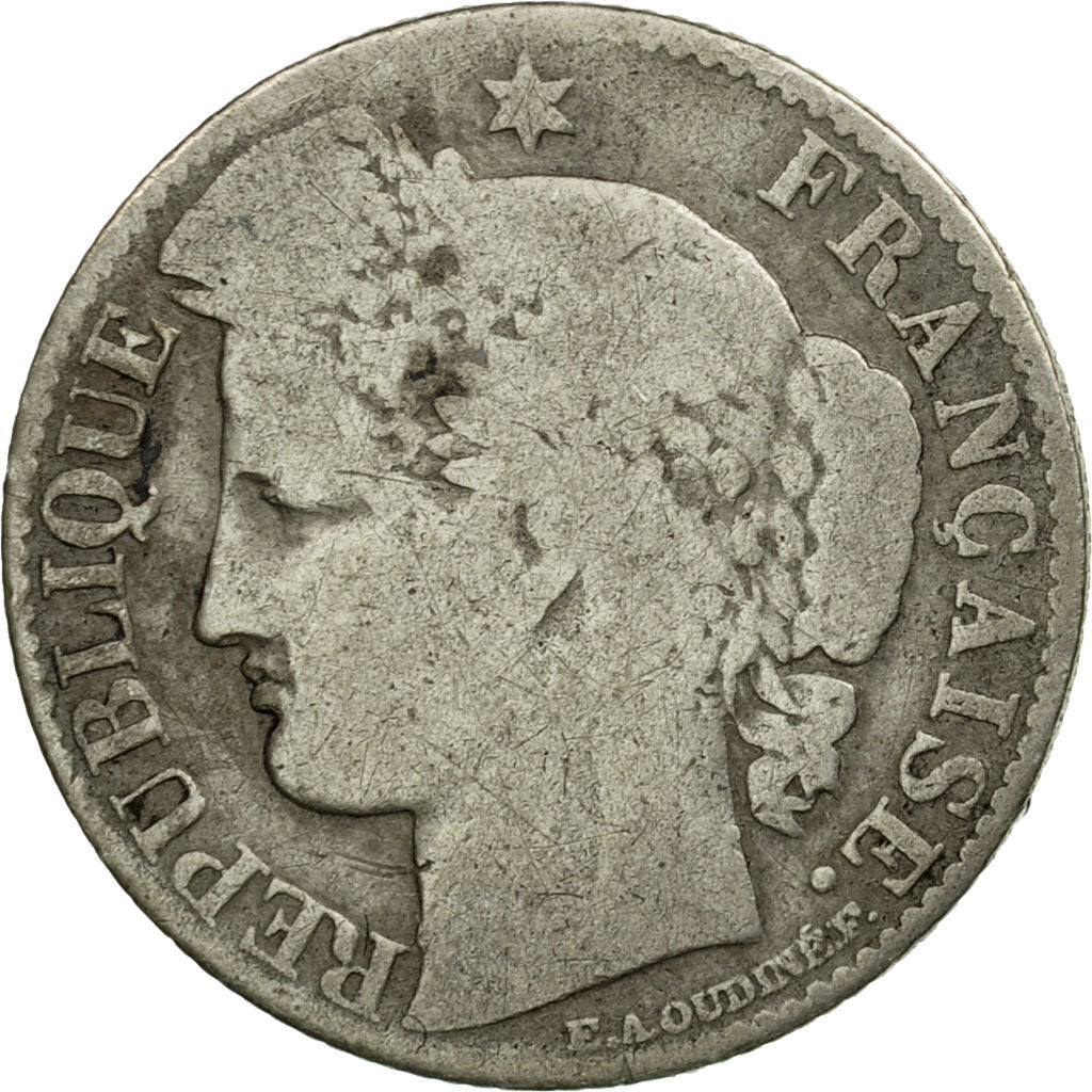 Coin, France, Cérès, 50 Centimes, 1872, Bordeaux, VF(20-25), Silver, KM:834.2