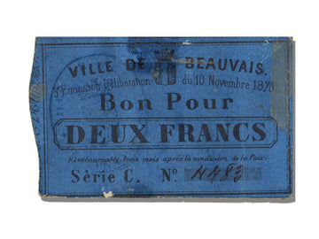 FRANCE, Beauvais, 2 Francs, 1870, 1870-11-10, EF(40-45), Jérémie #60.01.F