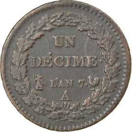 Coin, France, Dupré, Decime, AN 7, Paris, EF(40-45), Bronze, KM:644.1