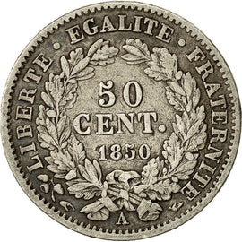 Coin, France, 50 Centimes, 1850, Paris, VF(30-35), Silver, KM:769.1, Gadoury:411