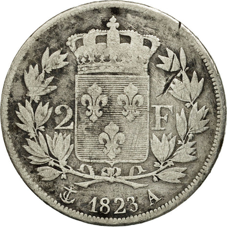 France, Louis XVIII, 2 Francs, 1823, Paris, VF(20-25), Silver, KM 710.1