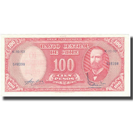 Banknote, Chile, 10 Centesimos on 100 Pesos, UNDATED (1960-1961), KM:127a