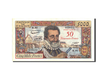 Banknote, France, 50 Nouveaux Francs on 5000 Francs, 1955-1959 Overprinted with