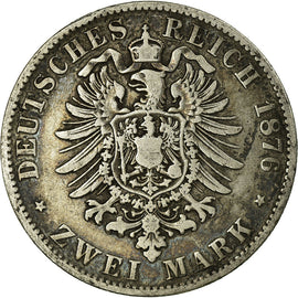 Coin, German States, BAVARIA, Ludwig II, 2 Mark, 1876, Munich, VF(20-25)