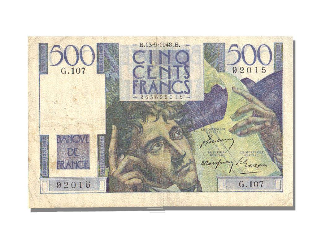 France, 500 Francs, 500 F 1945-1953 ''Chateaubriand'', 1948, KM #129b,...