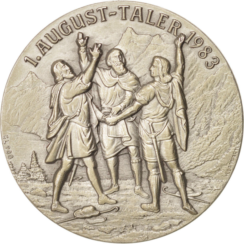 1. August-Taler 1987, WIlliam Tell's running away, Token