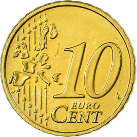 IRELAND REPUBLIC, 10 Euro Cent, 2004, AU(55-58), Brass, KM:35