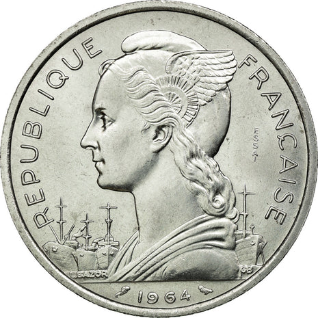 Coin, Comoros, 5 Francs, 1964, Paris, MS(65-70), Aluminium, Lecompte:36