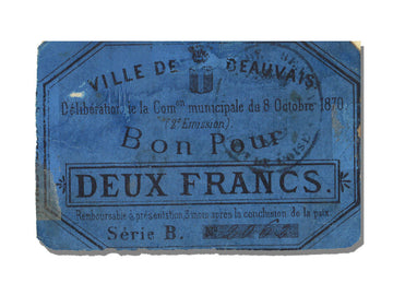 FRANCE, Beauvais, 2 Francs, 1870, 1870-10-08, EF(40-45), Jérémie #60.01.A
