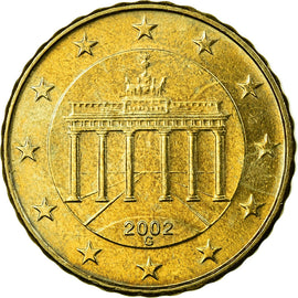 GERMANY - FEDERAL REPUBLIC, 10 Euro Cent, 2002, AU(55-58), Brass, KM:210