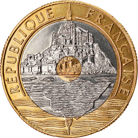 Coin, France, Mont Saint Michel, 20 Francs, 1998, Paris, BE, MS(65-70)