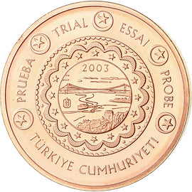 Turkey, 2 Euro Cent, 2003, unofficial private coin, MS(63), Copper Plated Steel