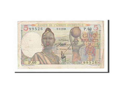 French West Africa 5 Francs 1948 KM:36 1948-03-09 VF(30-35) P.60