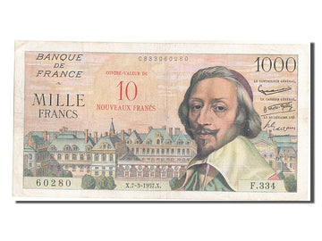Banknote, France, 10 Nouveaux Francs on 1000 Francs, 1955-1959 Overprinted with