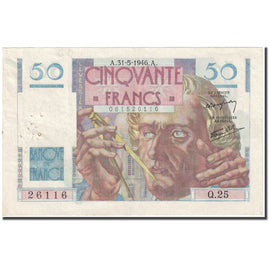 France, 50 Francs, Le Verrier, 1946, 1946-05-31, VF(30-35), Fayette:20.5