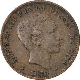 Coin, Spain, Alfonso XII, 10 Centimos, 1878, EF(40-45), Bronze, KM:675