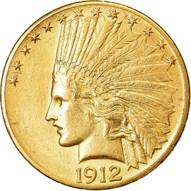Coin, United States, Indian Head, $10, Eagle, 1912, Philadelphia, AU(55-58)