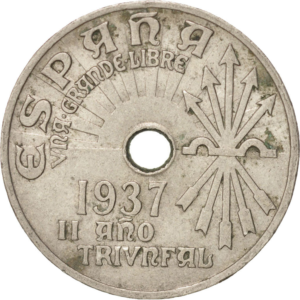 SPAIN, 25 Centimos, 1937, Vienna, KM #753, EF(40-45), Copper-Nickel, 25