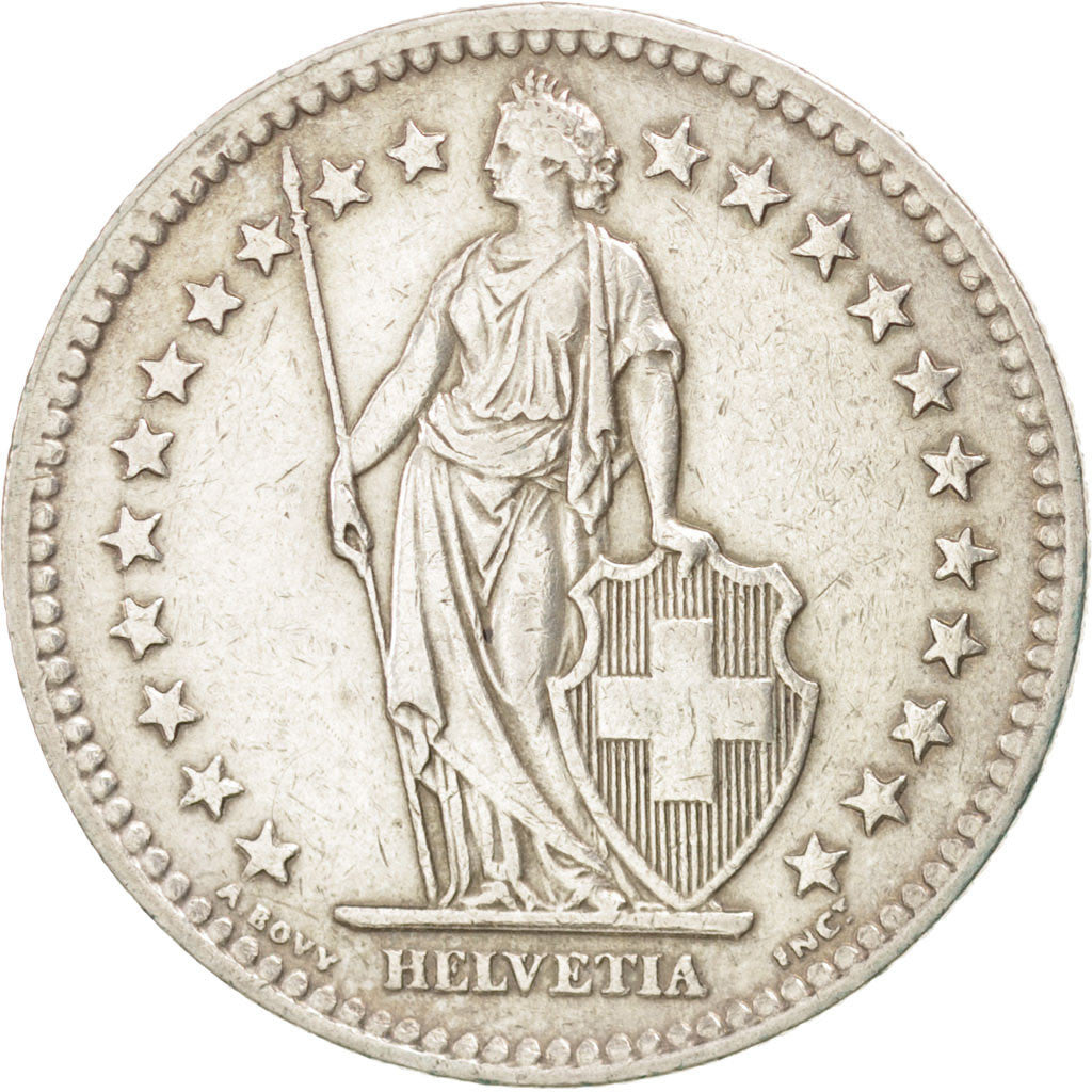 SWITZERLAND, 2 Francs, 1944, Bern, KM #21, EF(40-45), Silver, 27.4, 9.99