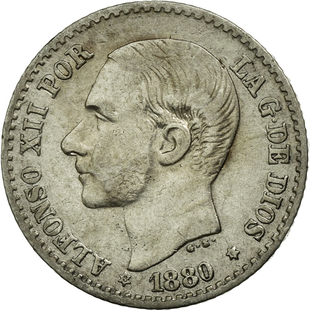 Coin, Spain, Alfonso XII, 50 Centimos, 1880, AU(55-58), Silver, KM:685