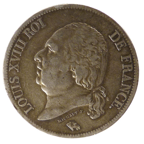 FRANCE, Louis XVIII, 5 Francs, 1817, Paris, KM #711.1, EF(40-45), Silver,...