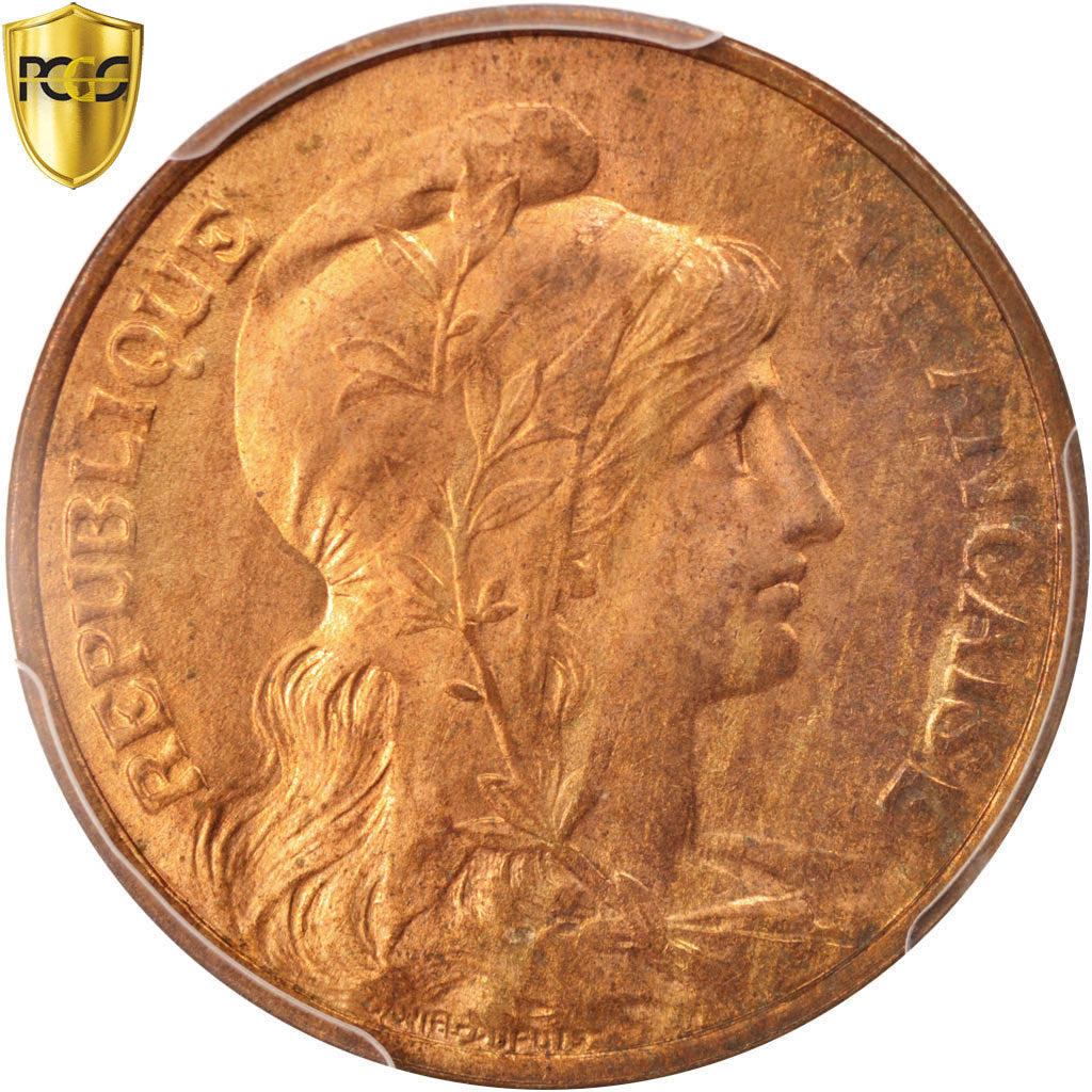 Coin, France, Dupuis, 5 Centimes, 1916, Paris, PCGS, MS64RB, MS(64), Bronze