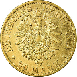 Coin, German States, BAVARIA, Ludwig II, 20 Mark, 1874, Munich, EF(40-45), Gold