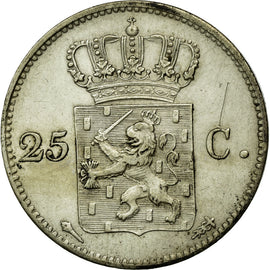 Coin, Netherlands, William I, 25 Cents, 1825, AU(55-58), Silver, KM:48