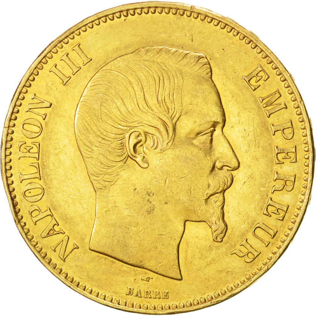 FRANCE, Napoléon III, 100 Francs, 1855, Paris, KM #786.1, AU(55-58), Gold, G...
