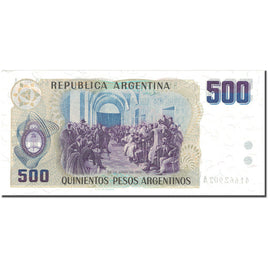 Banknote, Argentina, 500 Pesos Argentinos, UNDATED (1984), KM:316a, AU(55-58)