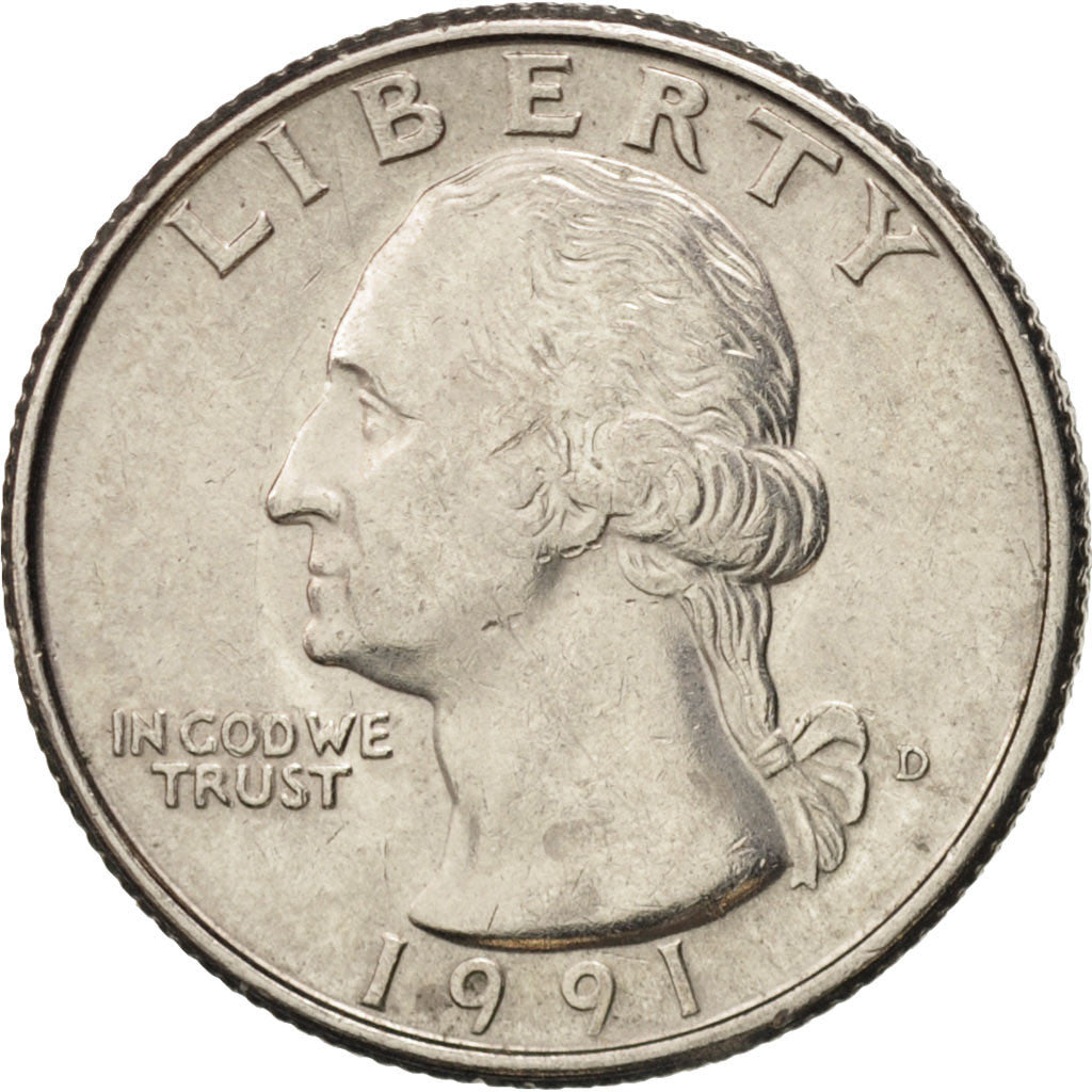 Coin, United States, Washington Quarter, Quarter, 1991, U.S. Mint, Denver