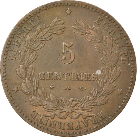 Coin, France, Cérès, 5 Centimes, 1878, Paris, EF(40-45), Bronze, KM:821.1