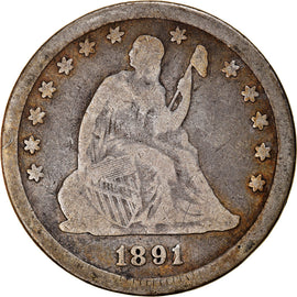 Coin, United States, Seated Liberty Quarter, Quarter, 1891, U.S. Mint