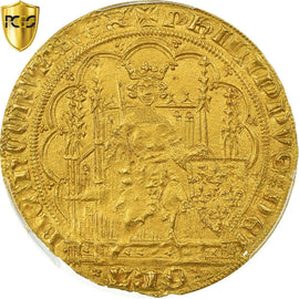 France, Philippe VI, Ecu d'or à la chaise, 1328-1350, PCGS, MS63, Duplessy:249A