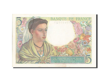 Banknote, France, 5 Francs, 5 F 1943-1947 ''Berger'', 1943, 1943-07-22, UNC(63)