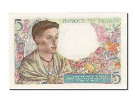 France, 5 Francs, 5 F 1943-1947 ''Berger'', 1943, KM #98a, 1943-11-25,...