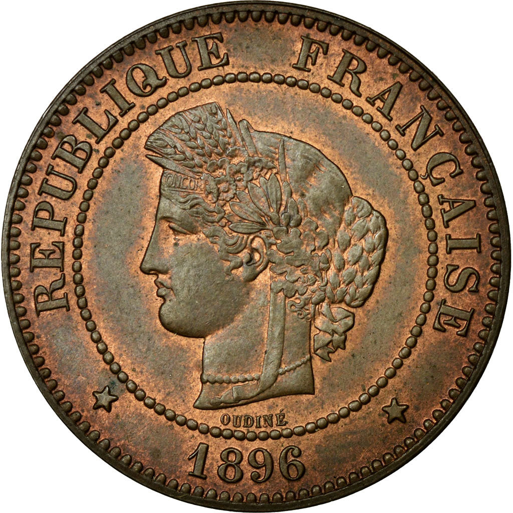 Coin, France, Cérès, 5 Centimes, 1896, Paris, MS(60-62), Bronze, KM:821.1