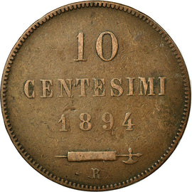 Coin, San Marino, 10 Centesimi, 1894, Rome, VF(30-35), Copper, KM:2