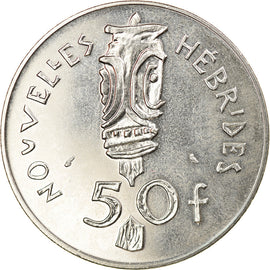 Coin, New Hebrides, 50 Francs, 1972, Paris, AU(55-58), Nickel, KM:7