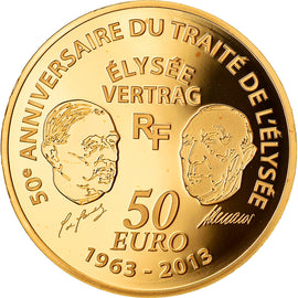 France, 50 Euro, Traité de l'Elysée, 2013, Paris, Proof, MS(65-70), Gold