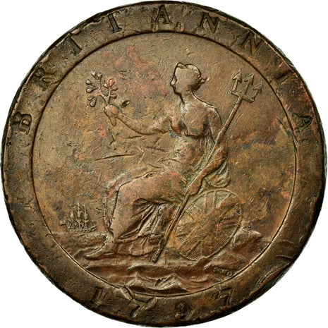 Coin, Great Britain, George III, Penny, 1797, EF(40-45), Copper, KM:618