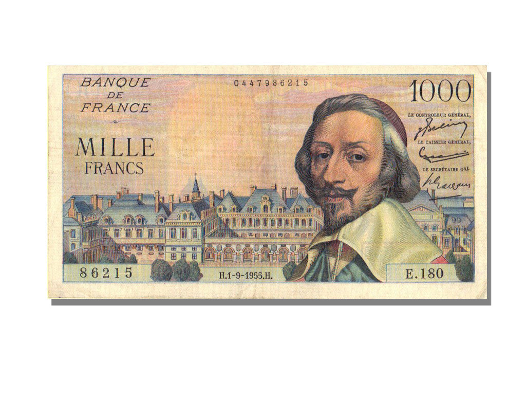 France, 1000 Francs, 1 000 F 1953-1957 ''Richelieu'', 1955, KM #134a,...