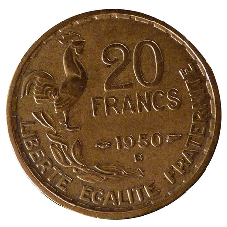FRANCE, Guiraud, 20 Francs, 1950, Beaumont - Le Roger, KM #917.2, EF(40-45),...