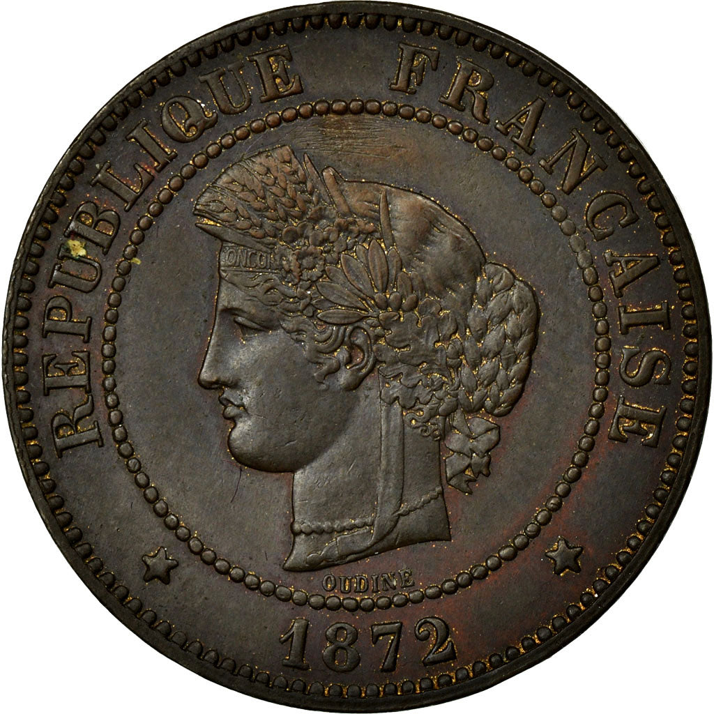 Coin, France, Cérès, 5 Centimes, 1872, Paris, MS(60-62), Bronze, Gadoury:157a