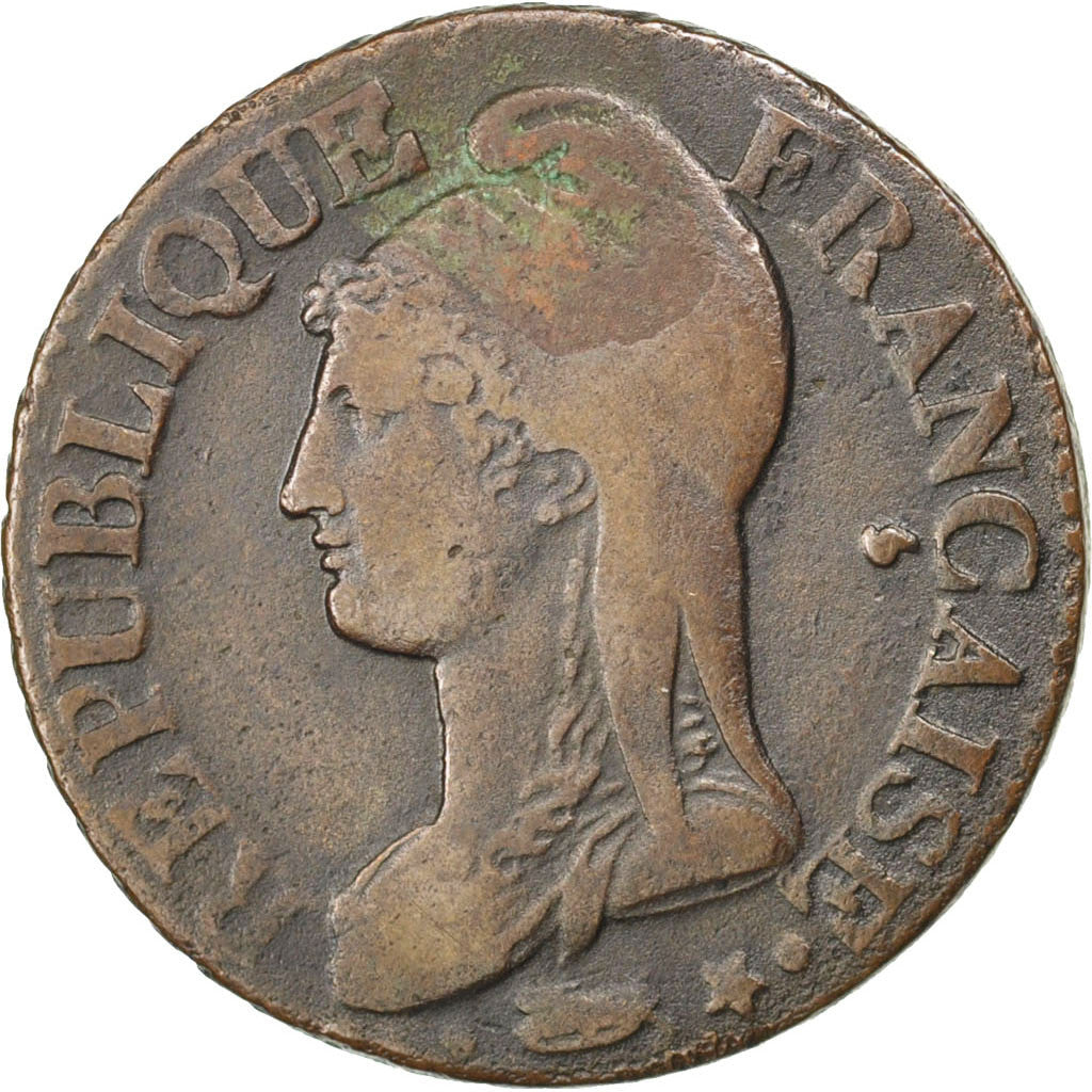 FRANCE, Dupré, 5 Centimes, 1796, Paris, KM #635.1, VF(30-35), Bronze, 23, Gadour