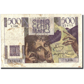 Banknote, France, 500 Francs, 500 F 1945-1953 ''Chateaubriand'', 1948