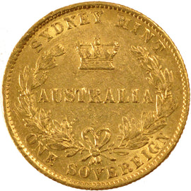 AUSTRALIA, Sovereign, 1861, Sydney, KM #4, EF(40-45), Gold, 7.97