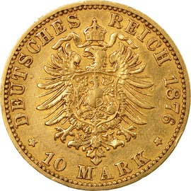 Coin, German States, BADEN, Friedrich I, 10 Mark,1876,Stuttgart,AU(50-53),KM 260